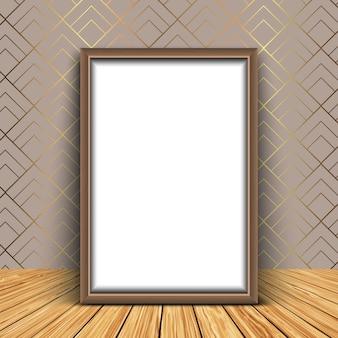 3d render de uma moldura em branco contra um papel de parede elegante
