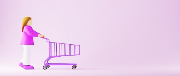 3d render de uma mulher e um carrinho de compras. compras on-line e e-commerce no conceito de negócio da web. transação de pagamento online segura com smartphone.