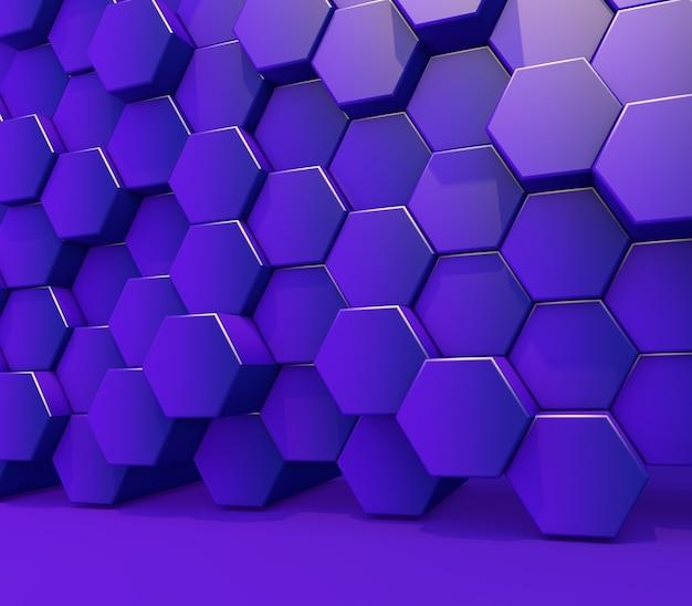 3d render de uma parede de formas hexagonais de extrusão roxas brilhantes