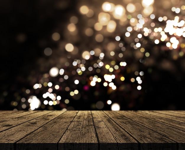 3d render de uma tabela de madeira rústica em um fundo de luzes bokeh