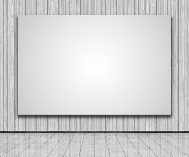 3d render de uma tela em branco em uma parede de madeira