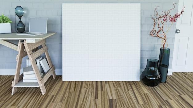 3d render de uma tela em branco encostada a uma parede em um interior de sala