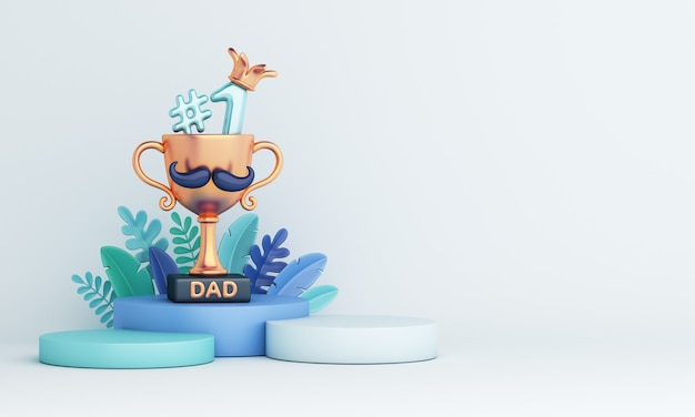 3d render decoração de feliz dia dos pais com um troféu e folhas de palmeira em fundo azul claro