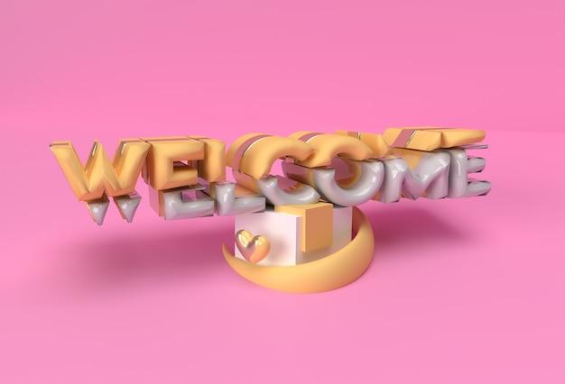 3d render design de ilustração caligráfica de texto bem-vindo.