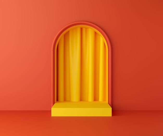 3d render display no pódio de cor amarela e parede laranja para o produto