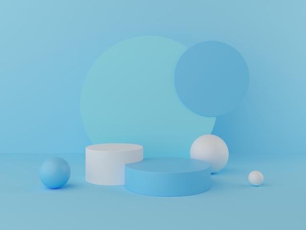 3d render display no pódio de cor pastel e parede para o produto
