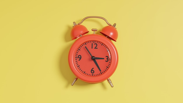 3d render do despertador vermelho sobre fundo amarelo