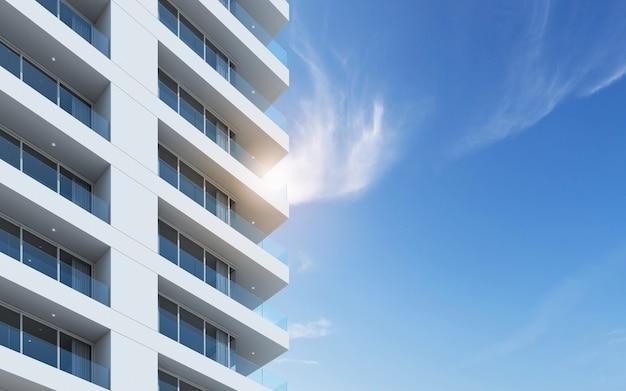 3d render do edifício da arquitetura com janela de vidro.