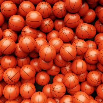 3d render do fundo do basquete. muitas bolas de basquete laranja, vista de cima. conceito de esporte