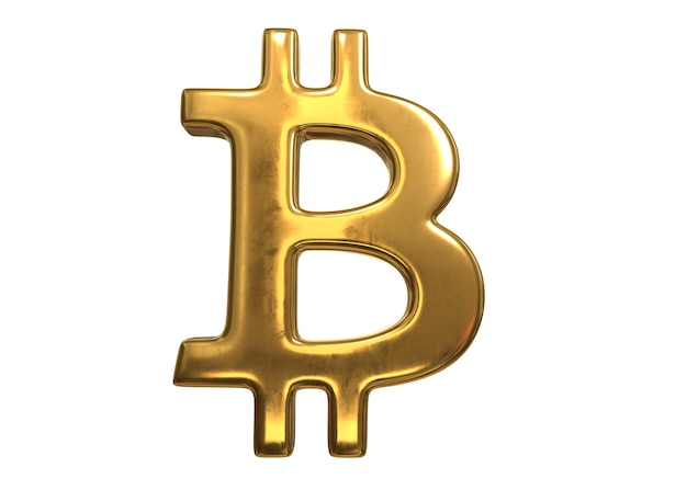3d render do golden bitcoin sign isolado no fundo branco