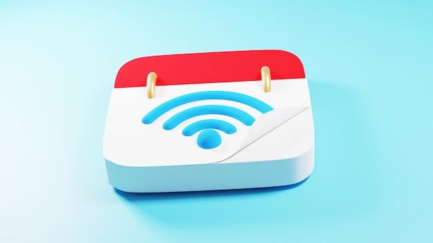 3d render do ícone de wi-fi e do caderno. negócios on-line e e-commerce no conceito de compras na web. transação de pagamento online segura com smartphone.
