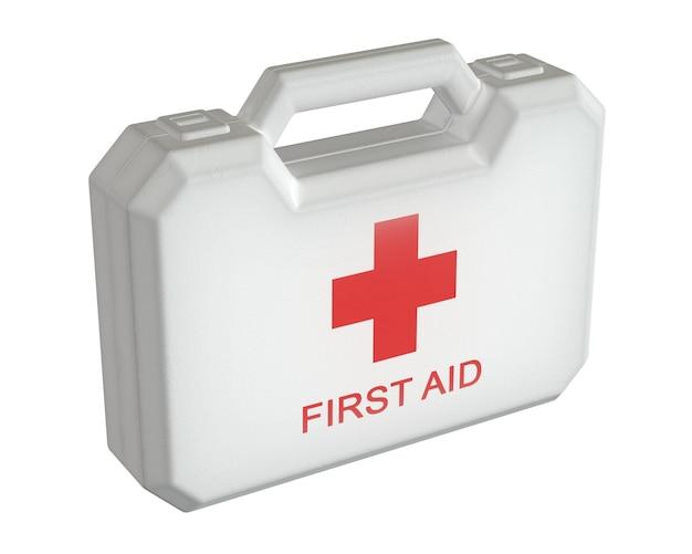 3d render do kit de primeiros socorros. caixa de caixa branca isolada na parede branca.