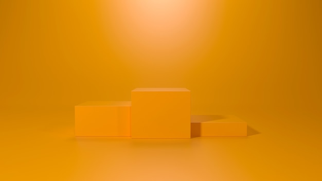 3d render do pedestal de três cubos