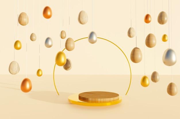 3d render do pódio de madeira e dourado com diferentes ovos de páscoa sobre fundo bege. fundo abstrato.
