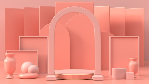 3d render do pódio geométrico rosa para produto ou comercial 3d do pódio abstrato