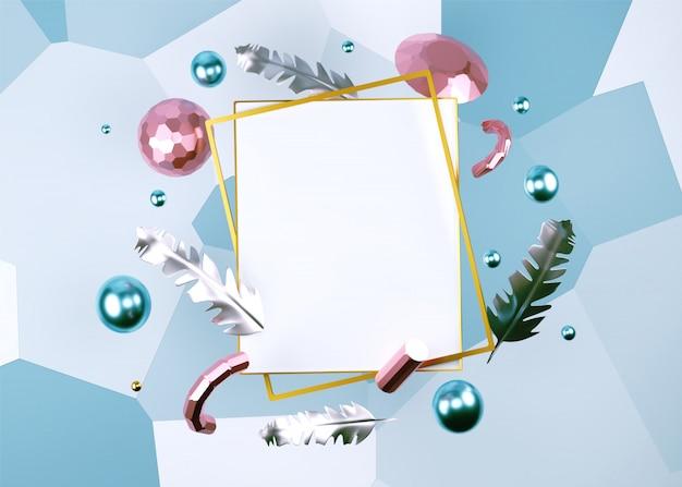 3d render do quadro em branco decorado com penas, pérolas