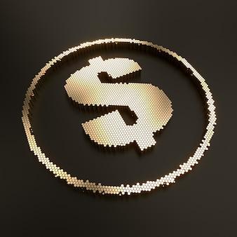 3d render do símbolo do dólar de ouro