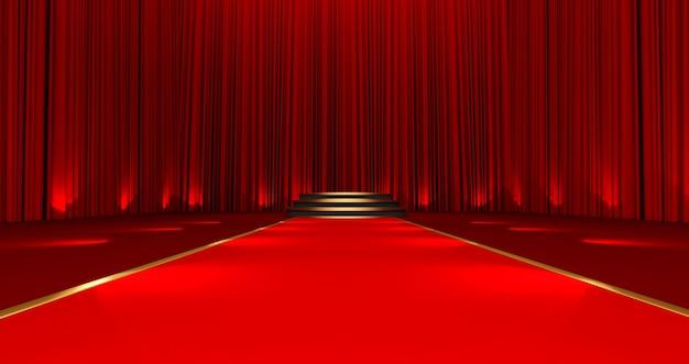 3d render do tapete vermelho no pódio redondo com etapas. tapete vermelho nas escadas em um fundo de seda vermelho.