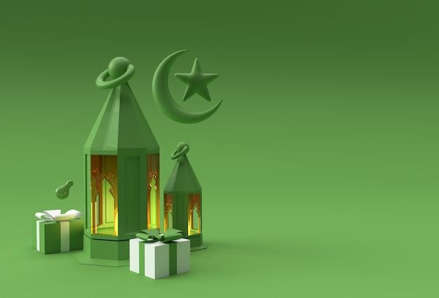 3d render eid mubarak celebração com cena de cena mínima pódio para design de publicidade de produtos de exibição