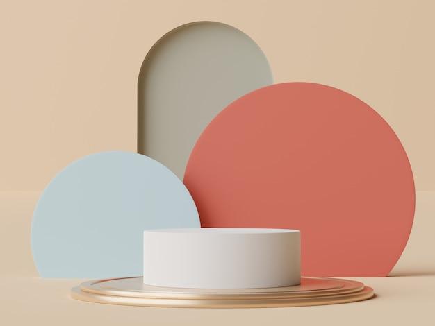 3d render em tons terrosos pastel mínimo pódio para simulação e exibição de produtos