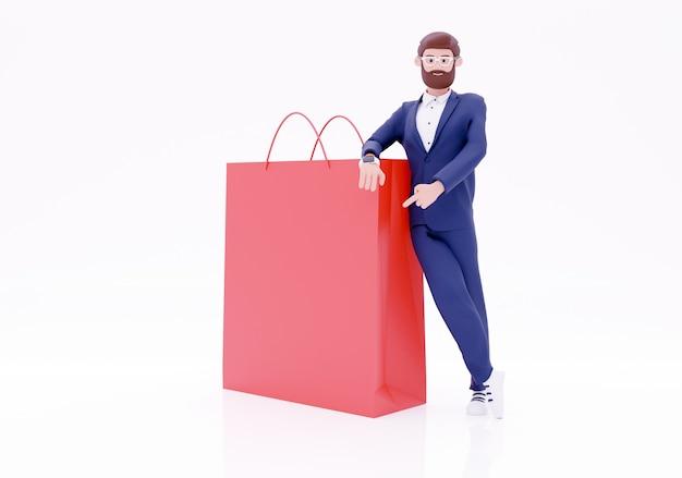 3d render empresário personagem com sacola de compras. uma sacola de compras de empresário feliz e desistir de polegar. isolado em um fundo branco.