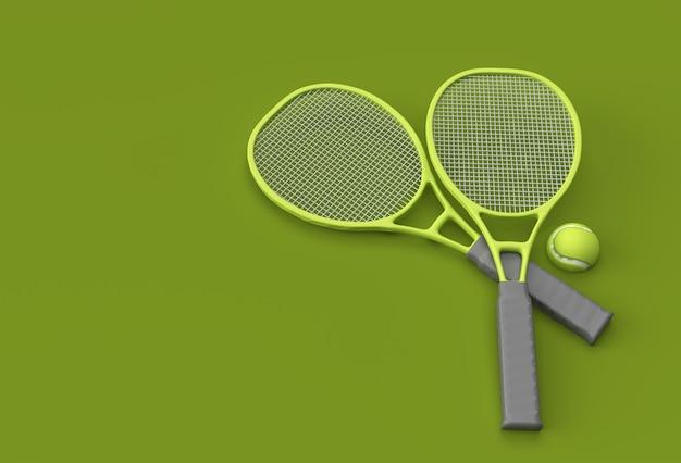 3d render equipamento de esporte de raquete de tênis com uma bola no fundo verde