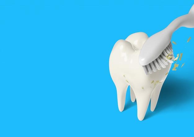 3d render escova de dentes limpeza dentes