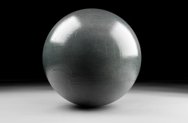 3d render esfera de bola de pedra com danos detalhados.