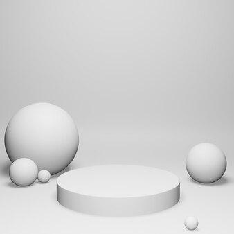 3d render esferas brancas e pódio em fundo branco