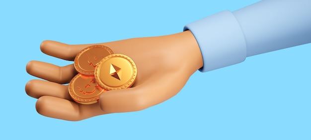 3d render fechar mão segurando com moedas bitcoin, criptomoeda. ilustração