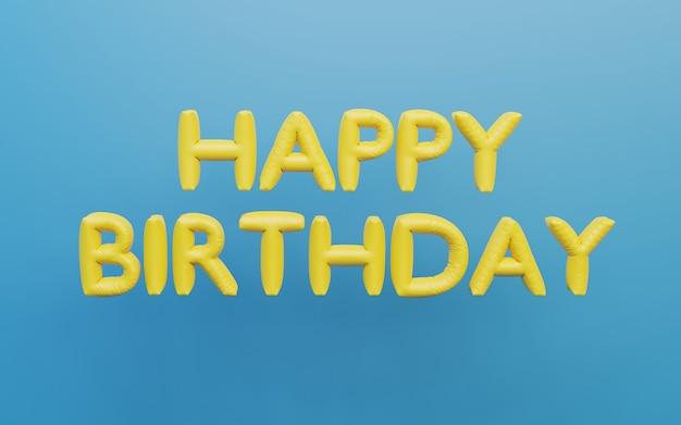 3d render feliz aniversário, folhas de balões, letras