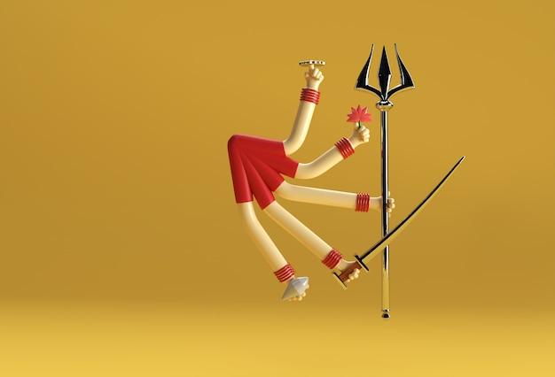 3d render feliz durga puja fundo deusa durga festival mulher mão com espada e triden.
