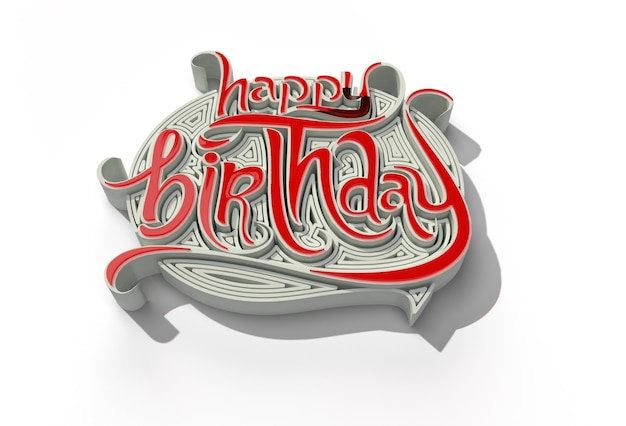 3d render ferramenta de caneta de texto de feliz aniversário criada trajeto de recorte incluído no jpeg fácil de compor.