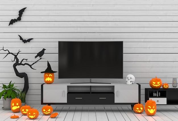 3d render festa de halloween na sala de estar com abóboras