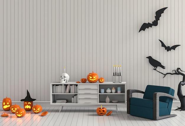 3d render festa de halloween na sala de estar com e abóboras