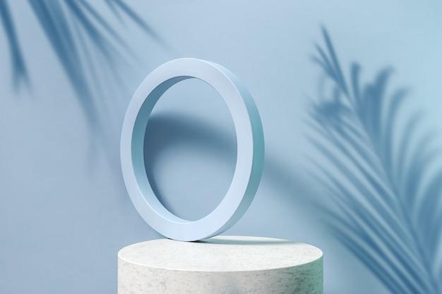 3d render forma geométrica abstrata azul e pódio de mármore com folhas de palmeira no fundo