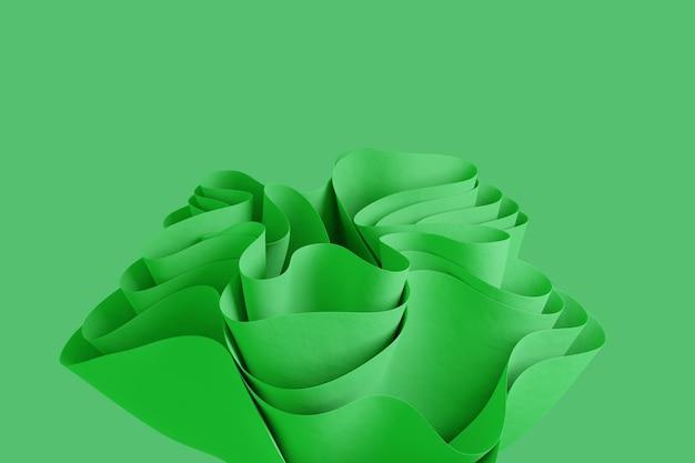 3d render forma ondulada verde abstrata em um fundo verde papel de parede de objeto 3d criativo