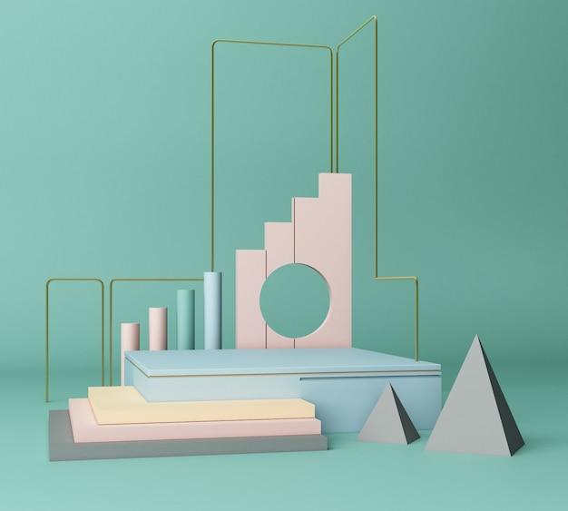 3d render formas primitivas abstraem fundo geométrico mínimo