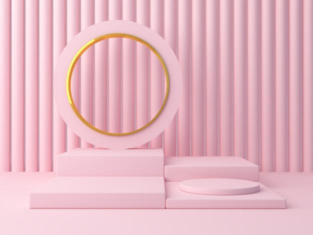 3d render formas rosa em um fundo rosa abstrato.