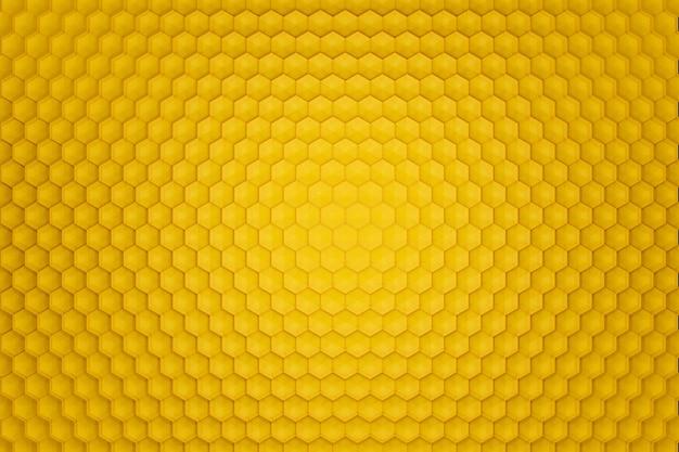 3d render fundo abstrato amarelo na forma de favos de mel. vista de cima.
