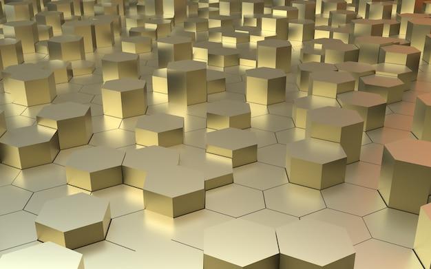 3d render fundo abstrato hexágono dourado