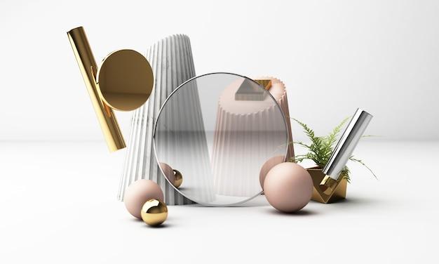 3d render fundo branco com formas geométricas. vidro preto dourado e rosa pastel design simplesmente moderno para promoção ou exposição de produtos.