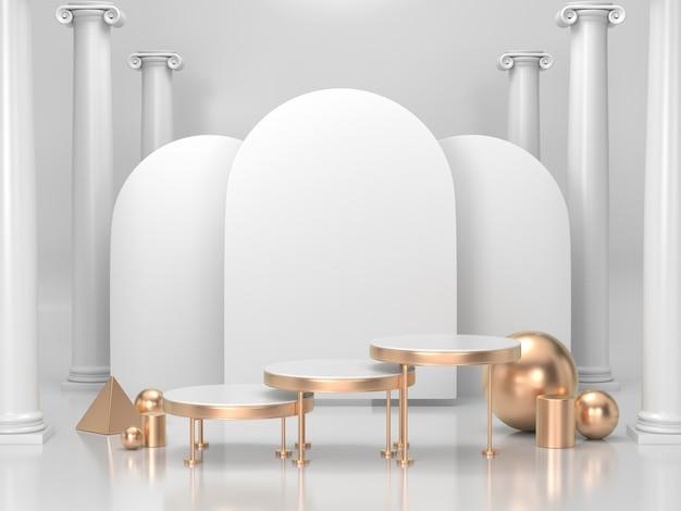 3d render fundo do pódio para cosméticos ou qualquer produto. fundo branco e dourado do pódio