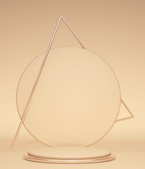3d render fundo dourado abstrato com triângulo e pódio vazio cartaz em branco vitrine de exibição de produtos da loja estande pódio vazio pedestal redondo palco com moldura de triângulo