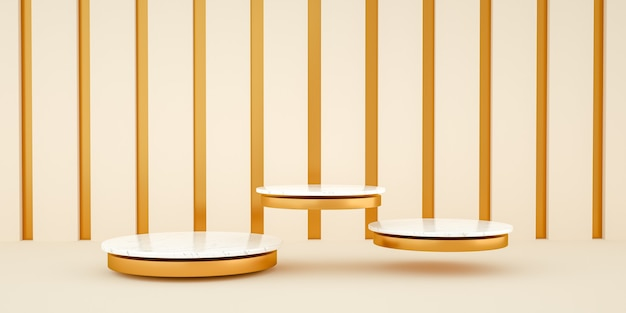 3d render, fundo minimalista abstrato e moderno com mármore branco e ouro. plataforma vazia