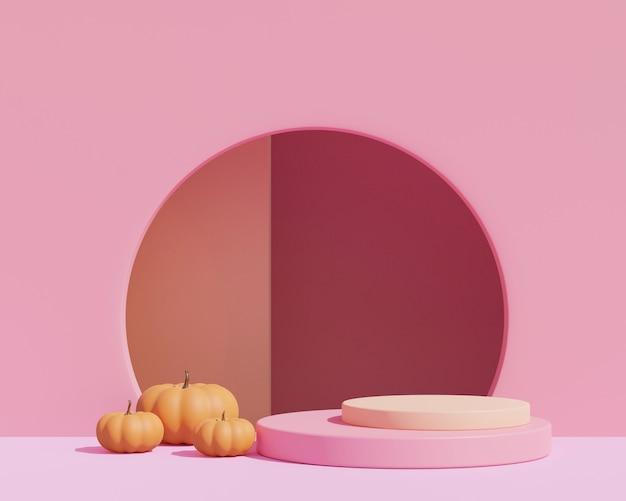 3d render, fundo rosa abstrato com pódio de forma geométrica para o produto. conceito mínimo. abóboras de halloween em fundo rosa