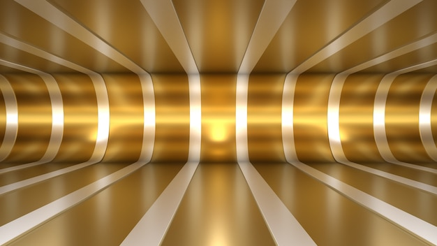 3d render fundo túnel sala espaço iluminação reflexões ouro branco profundidade linhas dobrar chão
