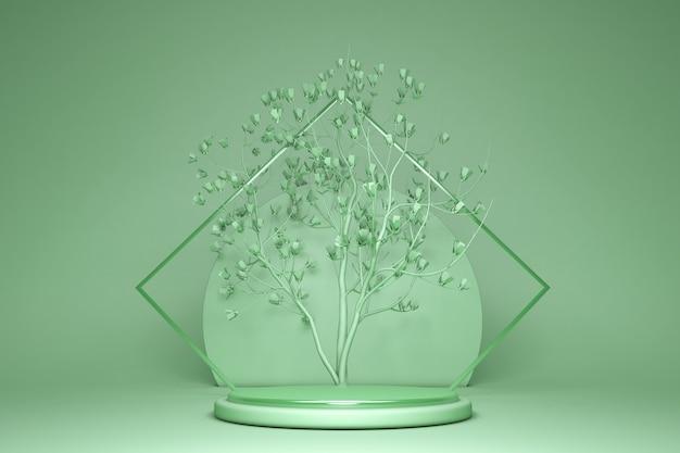 3d render fundo verde abstrato com árvore de primavera desenho geométrico mínimo loja vitrine exposição de produtos pódio vazio pedestal redondo palco em branco