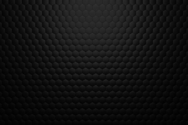 3d render fundo volumétrico de hexágonos pretos. fundo preto abstrato.