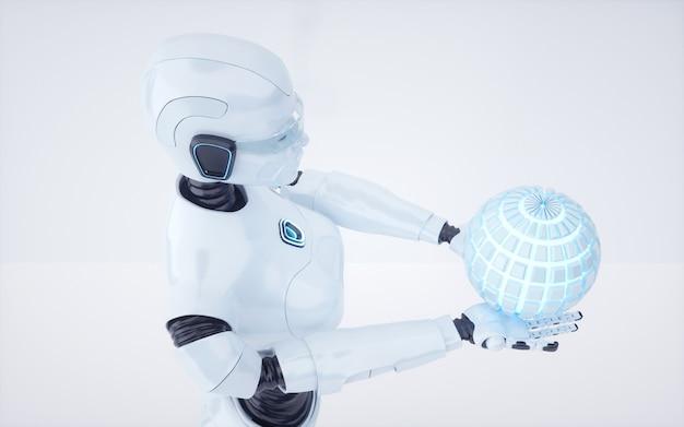 3d render futuro robô de inteligência artificial e ciborgue
